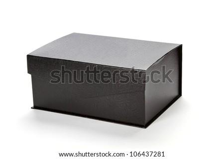 closed Black cardboard box - stock photo