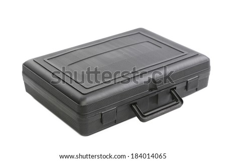 Closed black plastic case. Isolated on a white background.