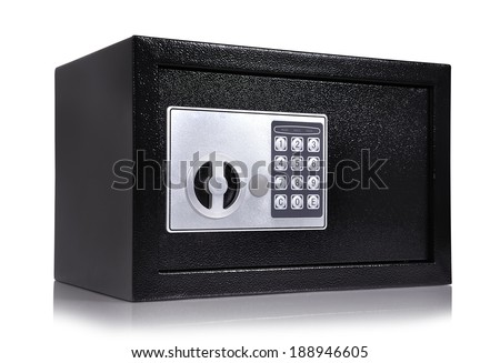 closed black safe on a white background