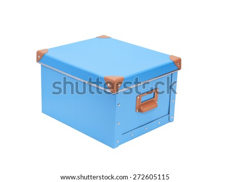Closed blue cardboard box isolated on white with clipping path - stock photo