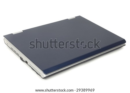 Closed blue notebook isolated on white - stock photo