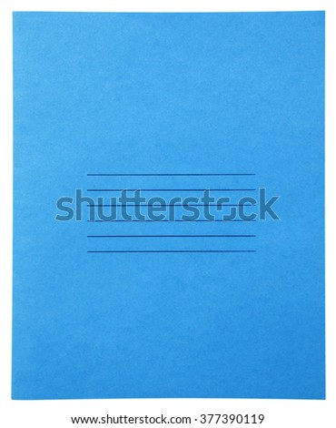Closed blue notebook isolated on white background with clipping path - stock photo