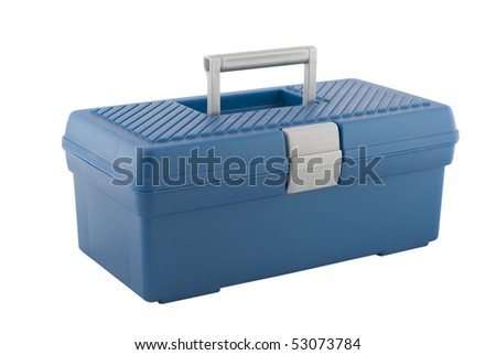 Closed blue toolbox isolated on white background. - stock photo