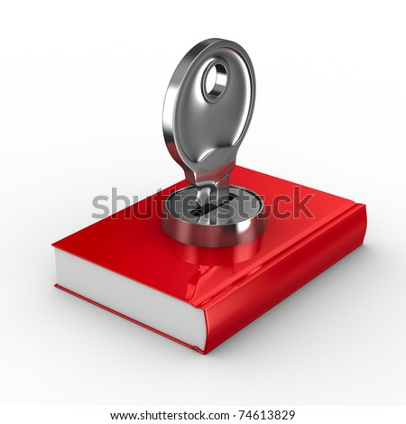 Closed book on white background. Isolated 3D image - stock photo