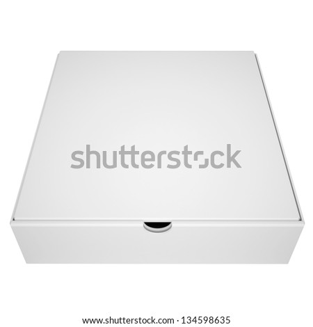 Closed box from under the pizza. Isolated render on a white background - stock photo