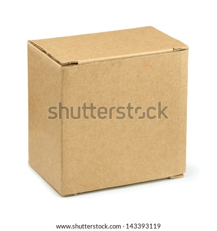 Closed brown cardboard box isolated on white - stock photo