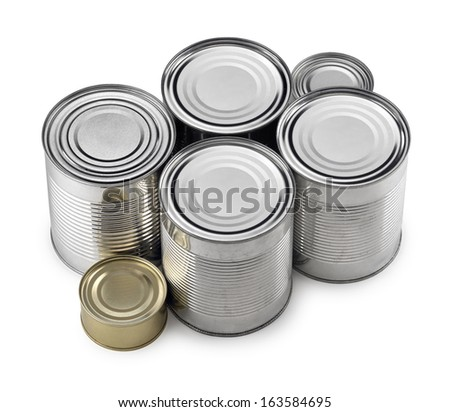 Closed cans on white background