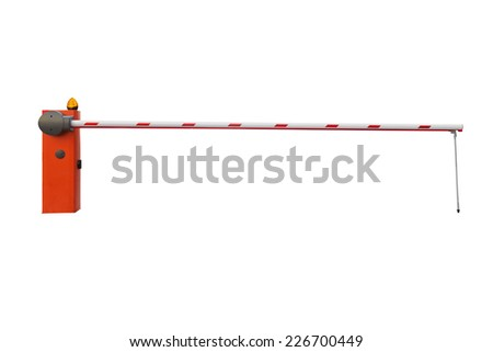 Closed car barrier isolated on white background - stock photo