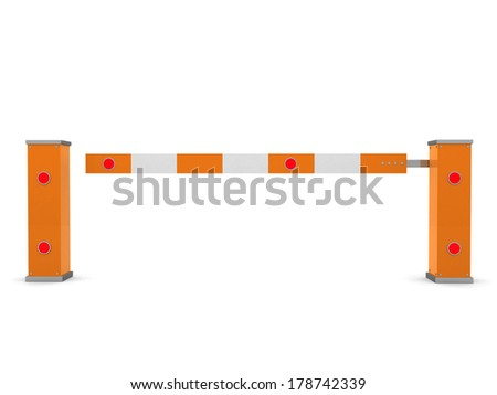 Closed Car Barrier isolated on white - 3d render illustration - stock photo