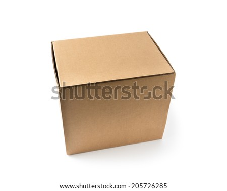 Closed cardboard box and isolated on a white  - stock photo