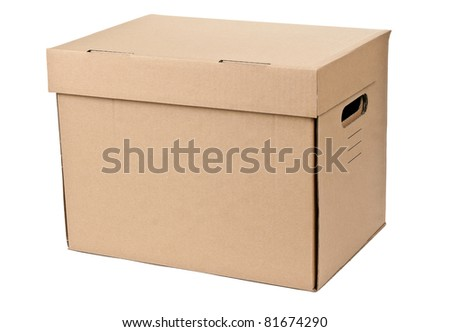 closed cardboard box isolated on a white background - stock photo