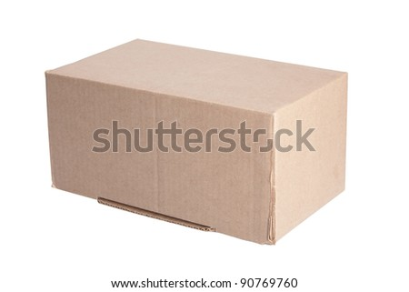 closed cardboard box isolated on the white background