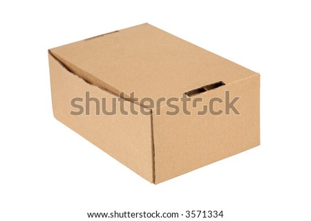 Closed cardboard box. Isolated on white