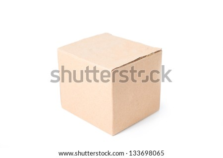 Closed cardboard box isolated on white background