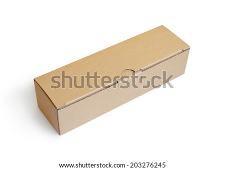 Closed cardboard box - isolated on white background  - stock photo
