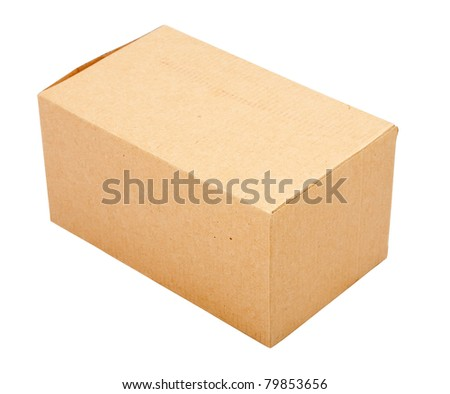 Closed cardboard box. Isolated over white background
