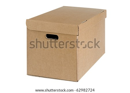 Closed cardboard box on white background - stock photo