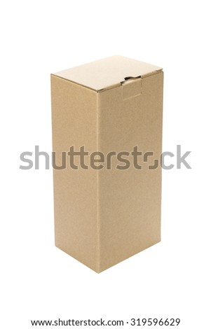 Closed cardboard Box or brown paper box isolated on White background - stock photo