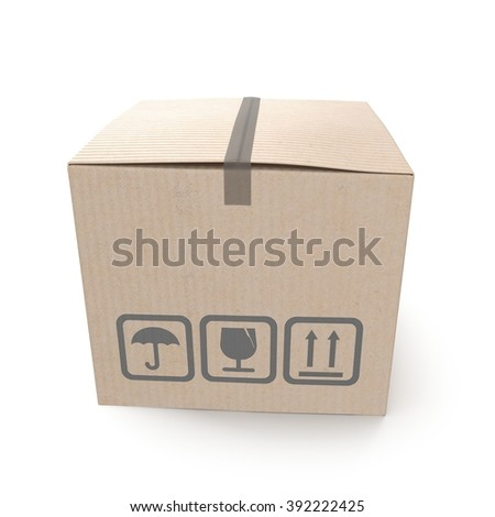 Closed cardboard box taped up and isolated on a white. - stock photo