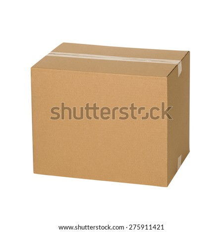 Closed cardboard box taped up and isolated on white background