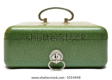 Closed Cash Box (Front View) - stock photo