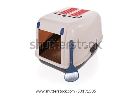 Closed cat litter box with scoop isolated on white background - stock photo