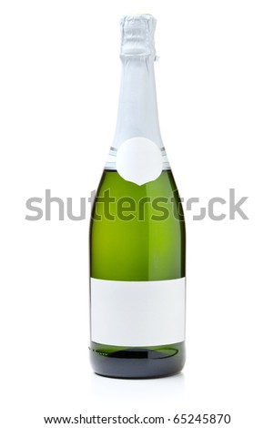 Closed champagne bottle. Isolated on white background - stock photo