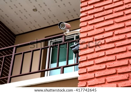 Closed circuit camera on the out side house.Safety and security - stock photo