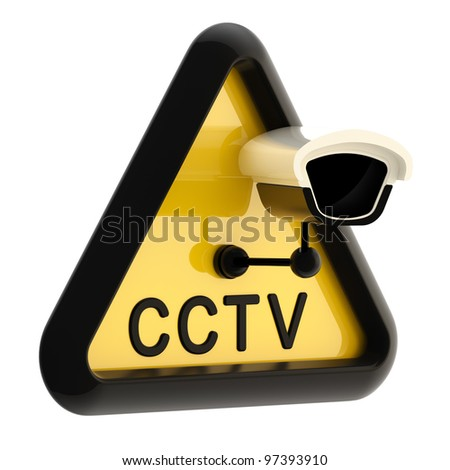Closed circuit television CCTV alert sign with real camera isolated on white - stock photo