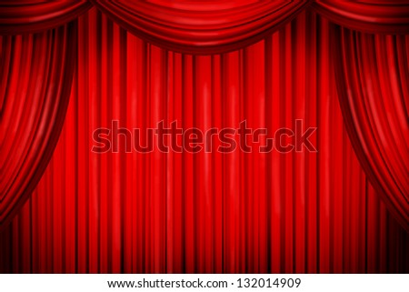 Closed curtains in theater of similar place - stock photo