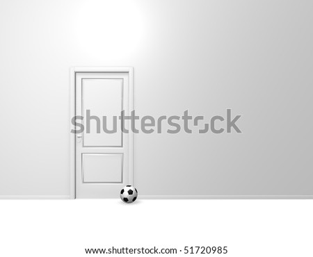 closed door and soccer ball - 3d illustration