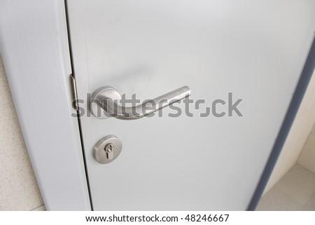 Closed Door Detail - stock photo