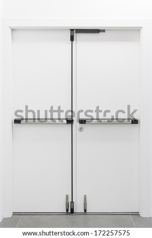 Closed door white output, construction and architecture - stock photo