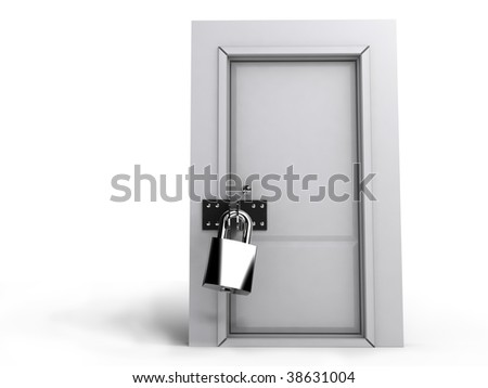 Closed door with lock isolate at white background