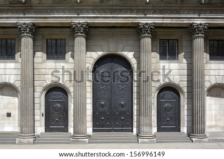 Closed doors to the Threadneedle Street main entrance to the Bank of England building - stock photo