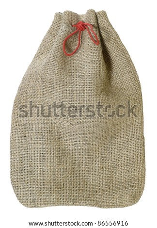 closed earthy christmas bag isolated on white - stock photo