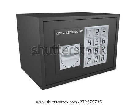 Closed electronic safe isolated on white background - stock photo