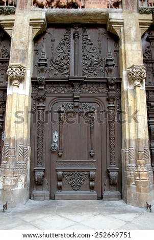 Closed entrance of the cathedral - stock photo