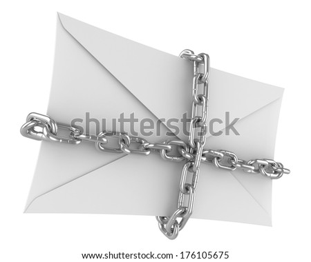 closed envelope with chains, important letter - stock photo