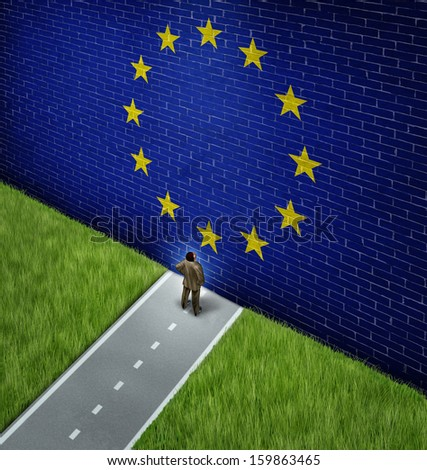 Closed European market as a concept and metaphor for Europe trade policy or strict business and immigration policy as a businessman on a road blocked by giant brick wall with a painted flag. - stock photo