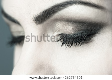 Closed Eyes Smoky Makeup Closeup - stock photo