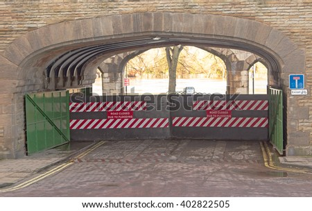 Closed flood gates on the banks of River Ouse, York. - stock photo