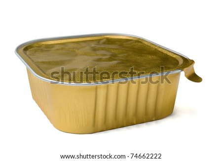 Closed foil take away  food containers isolated on white - stock photo