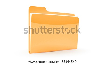 Closed Folder on white background - stock photo