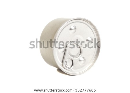 Closed Food Can isolated on white background - stock photo