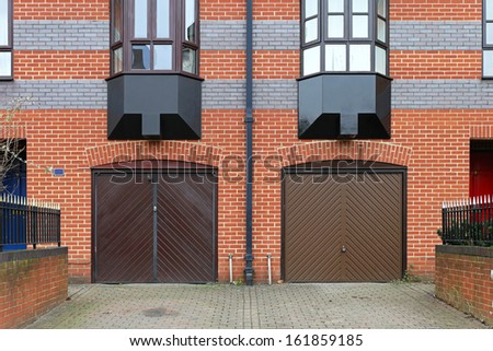 Closed garage doors outside of residential building