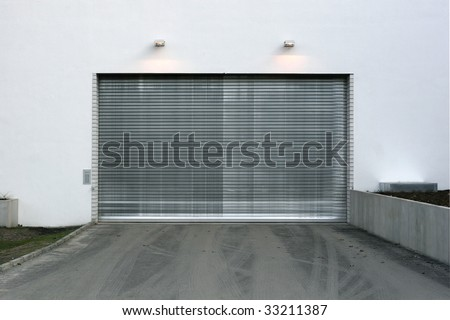 closed Garage Doorway - stock photo