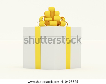 Closed gift box with yellow gold matte ribbon and bow. Isolated on white background. High resolution realistic 3d illustration