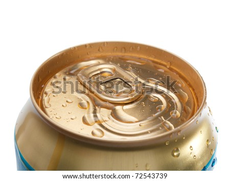 Closed Gold beer can with water drops isolated over white background.