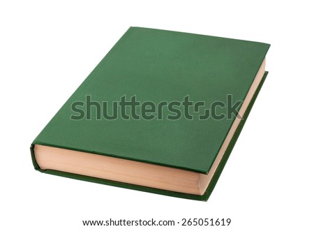 Closed green book isolated on a white background